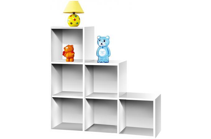 escalier 6 cases blanc meuble de rangement pas cher. Black Bedroom Furniture Sets. Home Design Ideas