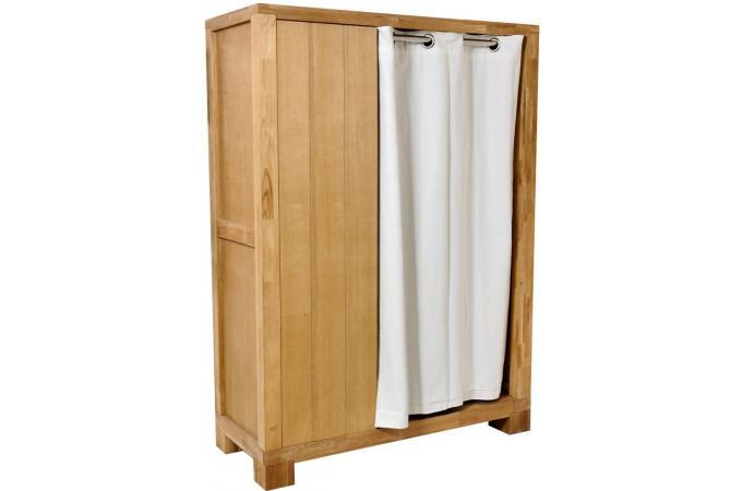 armoire 1 porte et rideau ch ne huil meuble de. Black Bedroom Furniture Sets. Home Design Ideas