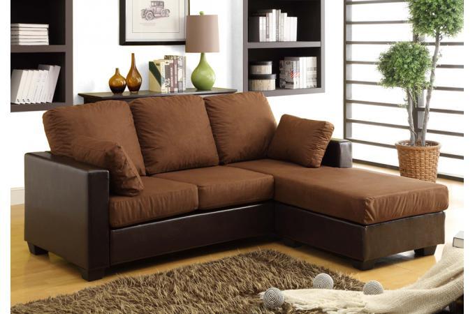 canap angle r versible imitation cuir microfibre chocolat. Black Bedroom Furniture Sets. Home Design Ideas