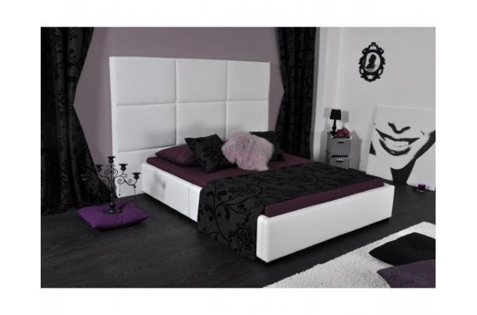 Lit en 140x190cm simili cuir blanc lit design pas cher - Lit simili cuir blanc 140 ...
