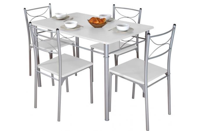 Ensemble s jour table et 4 chaises blanc table for Ensemble table et 4 chaises pas cher