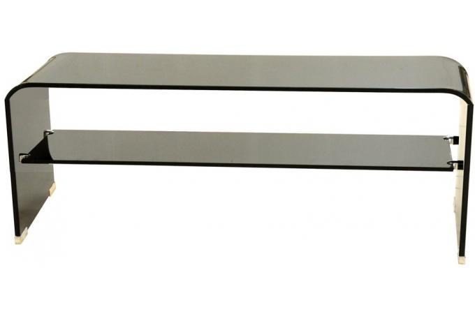 Table basse meuble tv rectangulaire avec tablette en verre for Meuble non peint