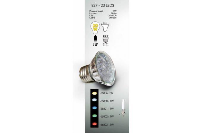 66800 ampoule led blanc par16 1w e27 pour luminaires easy connect 230v luminaire ext rieur. Black Bedroom Furniture Sets. Home Design Ideas