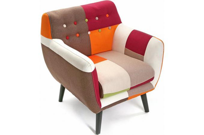 Fauteuil multicolore en coton melodie fauteuil design for Fauteuil multicolore design