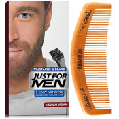 Just For Men - PACK COLORATION BARBE ET PEIGNE BARBIER Châtain - Coloration homme chatain fonce