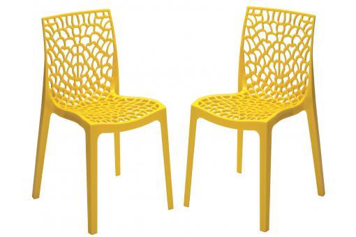 lot de 2 chaises design jaune perle gruyer opaque chaise design pas cher. Black Bedroom Furniture Sets. Home Design Ideas