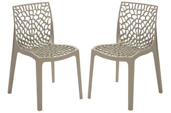lot de 2 chaises design grise brillant gruyer opaque chaise design pas cher. Black Bedroom Furniture Sets. Home Design Ideas