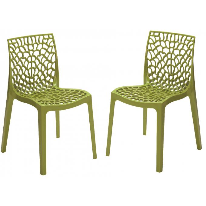 lot de 2 chaises design vert anis gruyer opaque chaise design pas cher. Black Bedroom Furniture Sets. Home Design Ideas
