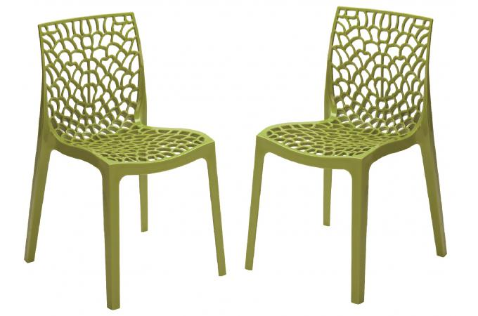 Lot de 2 chaises design vert anis gruyer opaque chaise - Chaise de jardin design ...
