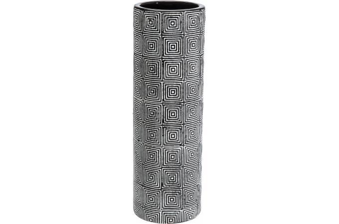 Grand Vase Cylindr Labyrinthe Noir Et Beige Vase Pas Cher