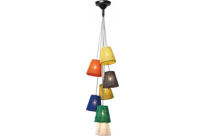 Suspension multi lampes multicolores suspension pas cher for Suspension multiple design