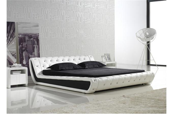lit capitonn bella 140cm blanc lit design pas cher. Black Bedroom Furniture Sets. Home Design Ideas