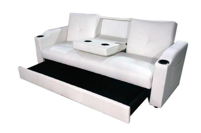 Canap convertible napoli blanc 3 canap chesterfield for Canape banquette convertible