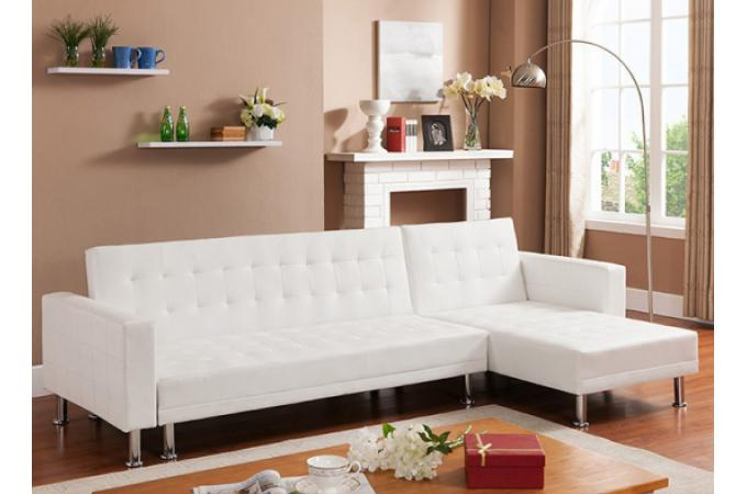Canap d 39 angle convertible blanc los canap chesterfield pas cher - Banquette angle convertible ...