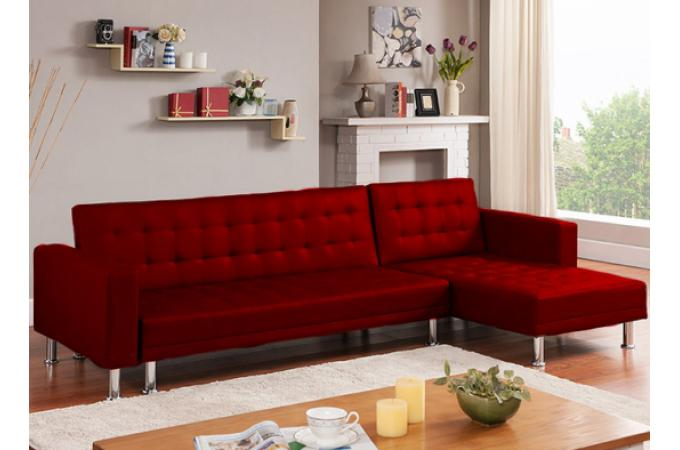 Canap D 39 Angle Convertible Rouge Los Canap Chesterfield