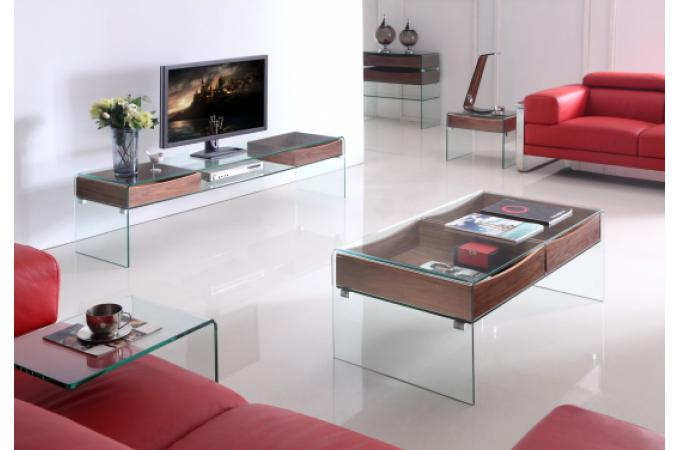 Meuble t l glasgow en verre et bois meuble tv pas cher - Meubles en verre ...