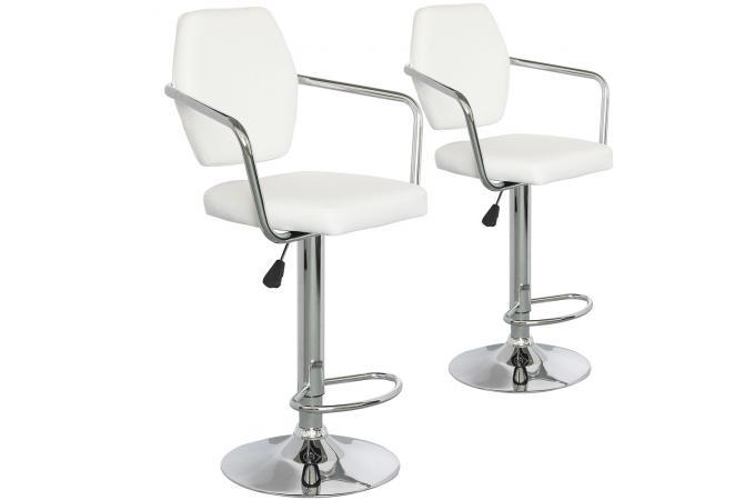 lot de 2 chaises de bar blanches en m tal p kin tabouret. Black Bedroom Furniture Sets. Home Design Ideas