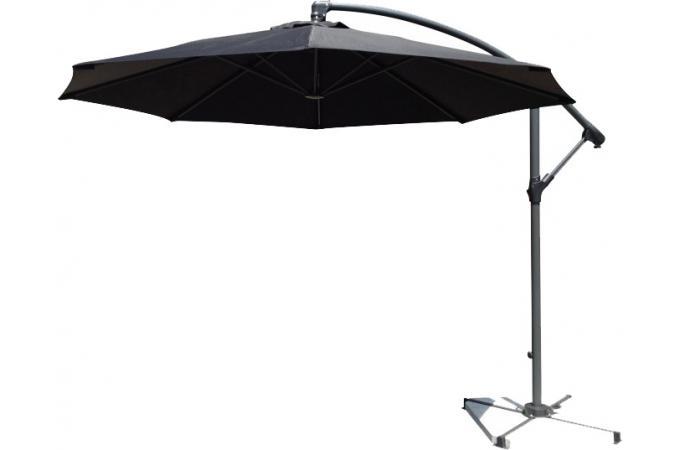 parasol d port rond noir en toile alberick parasol pas cher. Black Bedroom Furniture Sets. Home Design Ideas