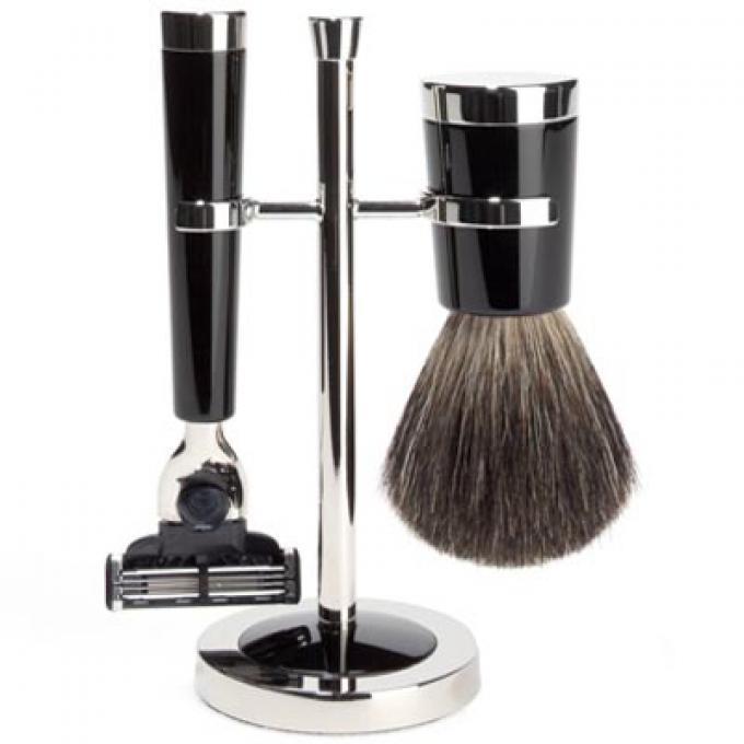 set de rasage 3 pieces noir moderne lames mach 3 mencorner com set de rasage homme. Black Bedroom Furniture Sets. Home Design Ideas