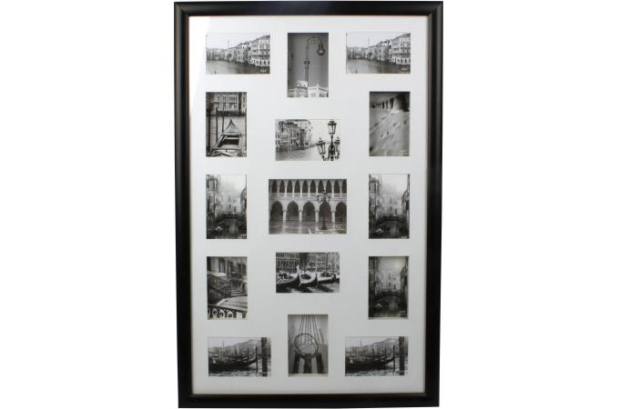 Cadre photo mural 15 photos noir 57x88cm cadre photo pas for Cadre photo design mural