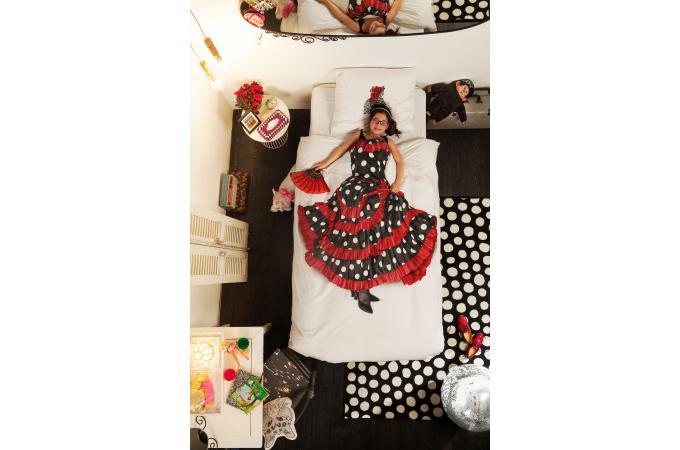 parure coton flamenco housse de couette 140x200 et 1 taie d 39 oreiller 65x65 housse de couette. Black Bedroom Furniture Sets. Home Design Ideas