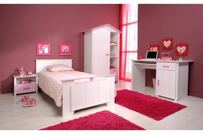 Chambre compl te enfant blanche et rose megeve chambre - Chambre blanche et rose ...