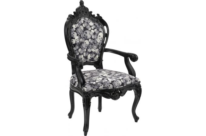 fauteuil noir motif t tes de morts deco design. Black Bedroom Furniture Sets. Home Design Ideas