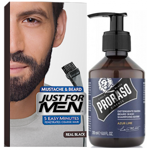Just For Men - COLORATION BARBE Noir Naturel & Shampoing à Barbe 200ml Azur Lime - Rasoir homme