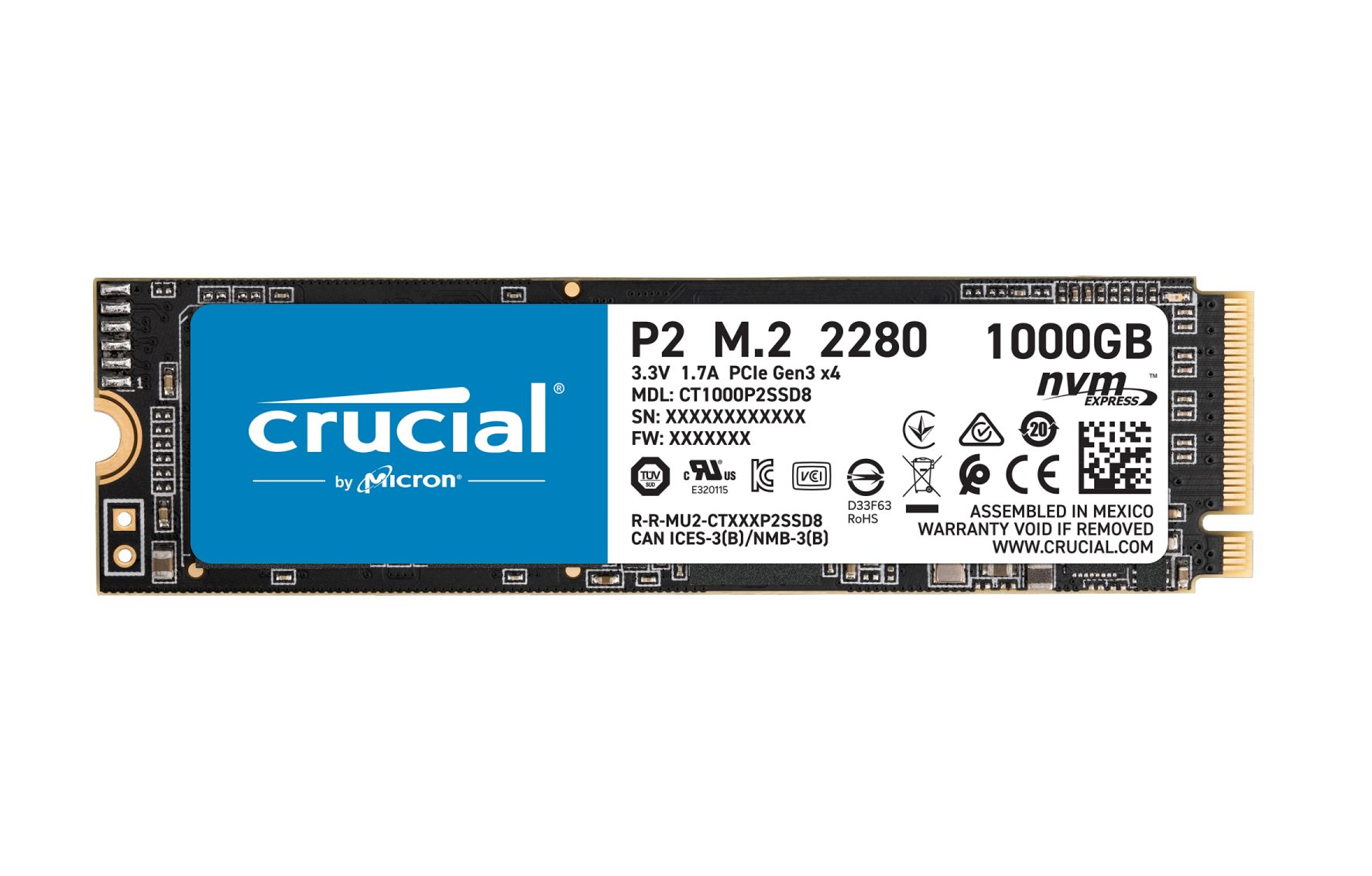 P2 3D NAND - 1 To - M.2 NVMe PCIe