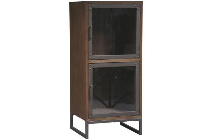 Vitrine bois industriel fred meuble de rangement pas cher for Acheter meuble design