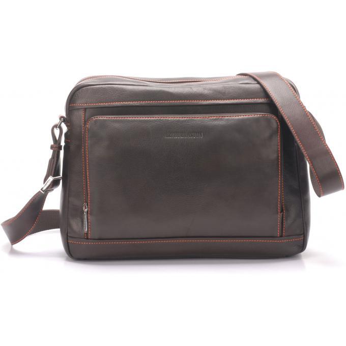 Arthur & Aston Sacoche horizontale en cuir Marron UeosZtwI