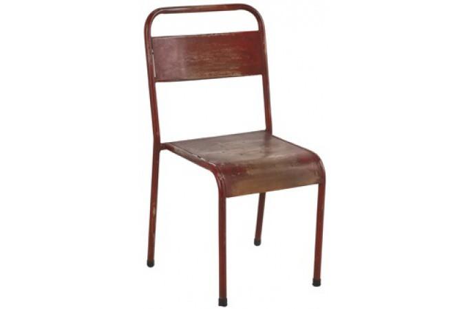 Declikdeco  Chaise rouge en métal Malvina