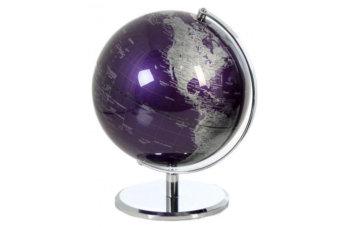 mappemonde violette d 25 cm statue design pas cher. Black Bedroom Furniture Sets. Home Design Ideas