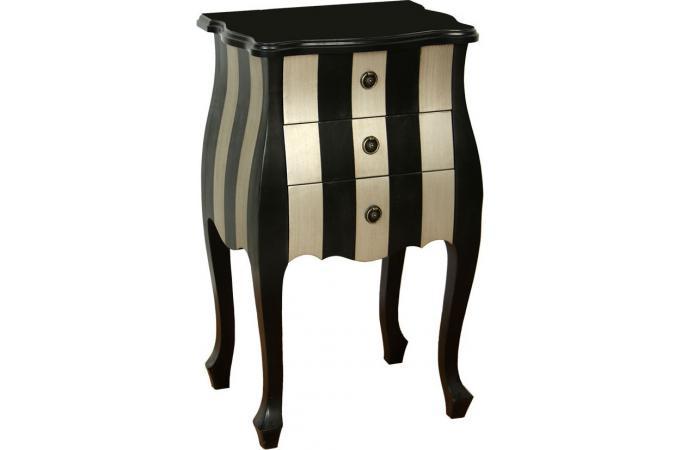 petite commode 3 tiroirs en bois noire et argent e commode pas cher. Black Bedroom Furniture Sets. Home Design Ideas