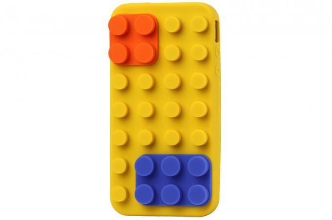 Declikdeco  Coque silicone jaune pour Iphone 4 Lego