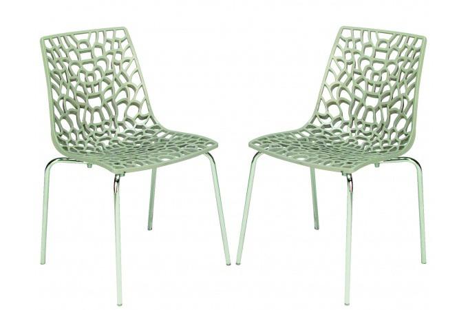 Lot de 2 chaises beiges traviata chaises design pas cher - Lot de chaise design pas cher ...