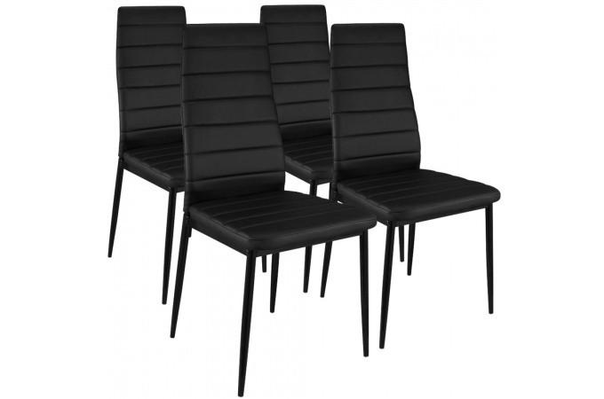 Lot de 4 chaises design simili cuir noir houston chaises - Chaise cuir pas cher ...