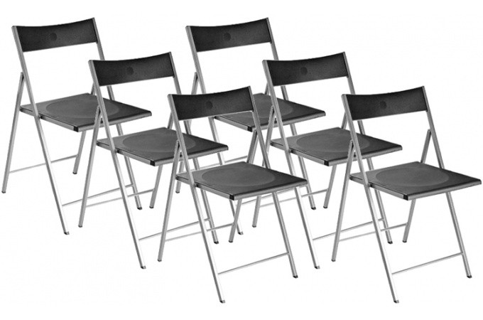 lot de 6 chaises pliantes noires bilbao chaise pliante pas cher. Black Bedroom Furniture Sets. Home Design Ideas