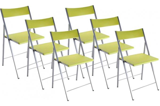 lot de 6 chaises pliantes vertes anis bilbao chaise. Black Bedroom Furniture Sets. Home Design Ideas