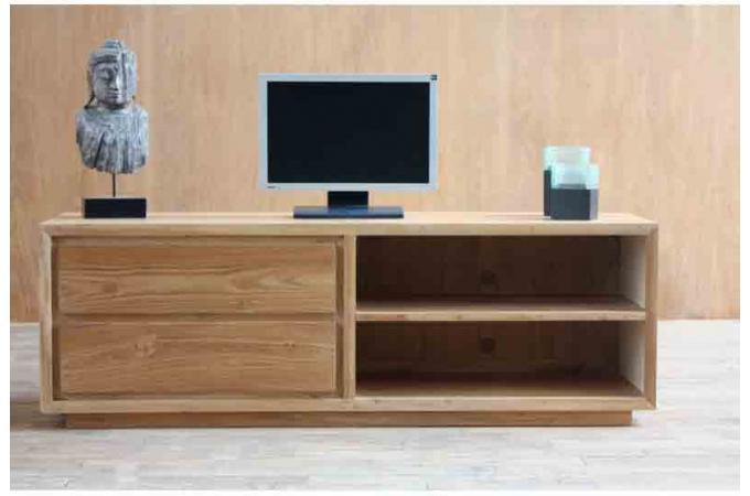 Meuble tv marvin 2 tiroirs et 2 espaces rangement en teck - Meuble tv teck pas cher ...