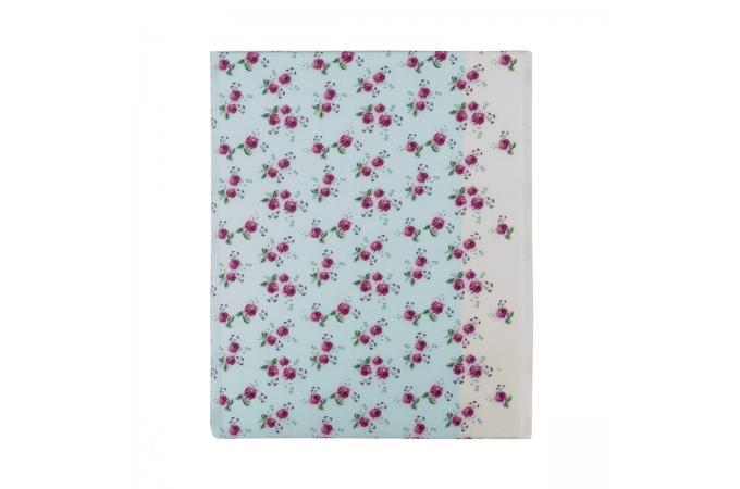 Housse de couette bleue claire coton imprim 220x240 cm for Housse de couette 220x240 coton pas cher