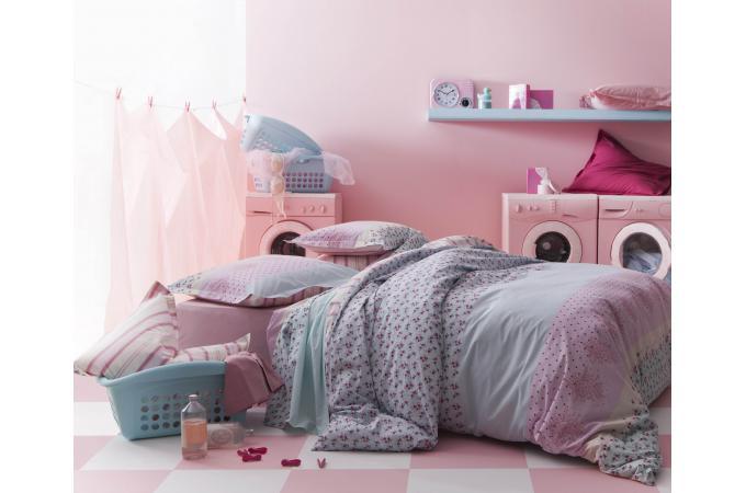 parure de lit rose insouciance 140x200 cm et une taie d 39 oreiller 65x65 cm housse de couette. Black Bedroom Furniture Sets. Home Design Ideas