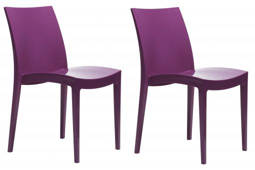 Lot de 2 chaises polypropyl ne flashy violettes london h - Chaise pliante london ...