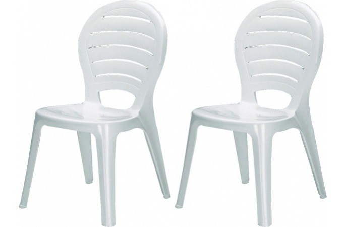 pack de 2 chaisesde jardin empilables blanches en. Black Bedroom Furniture Sets. Home Design Ideas