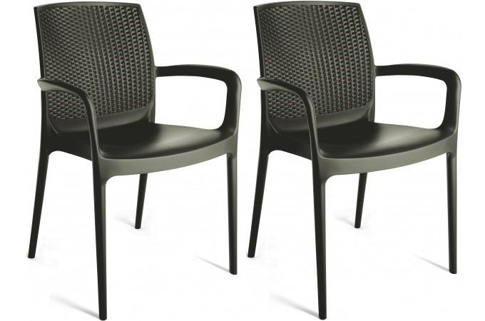 pack de 2 fauteuils de jardin empilables anthracite en. Black Bedroom Furniture Sets. Home Design Ideas
