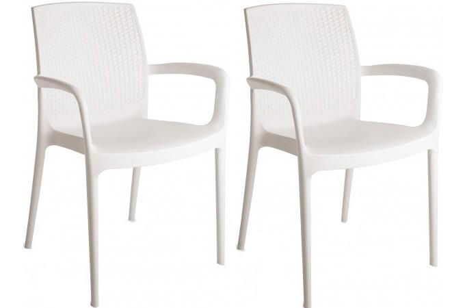 pack de 2 fauteuils de jardin empilables blancs en. Black Bedroom Furniture Sets. Home Design Ideas