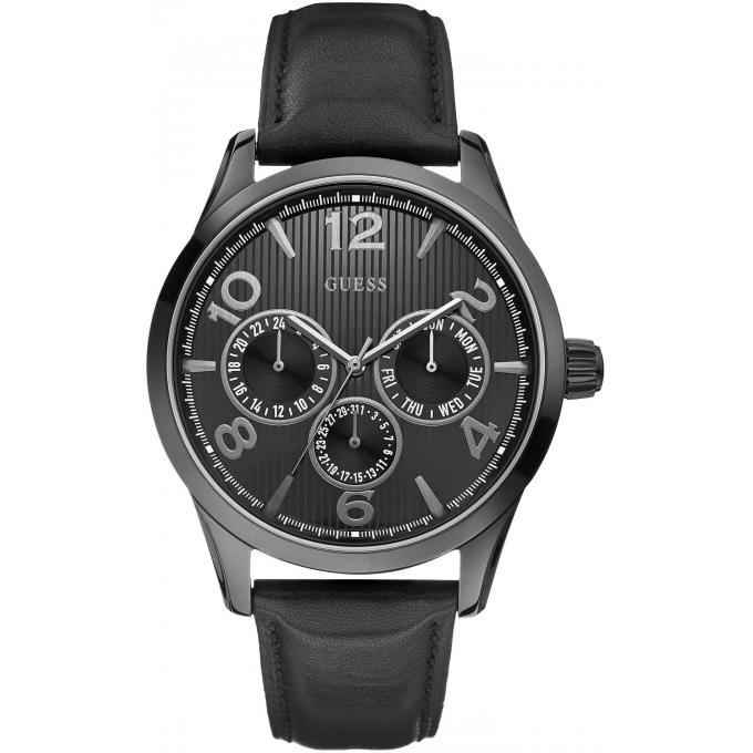 montre guess montre w0493g2 montre cuir noire homme guess montres montre homme. Black Bedroom Furniture Sets. Home Design Ideas
