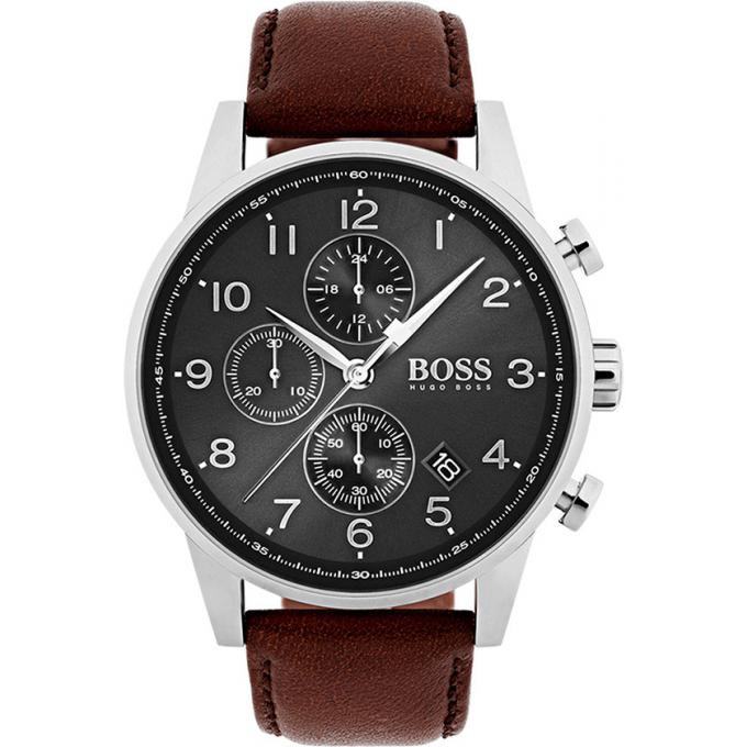 Mencorner FR Montre Hugo Boss 1513494 - Montre Cuir Marron Chronographe Homme