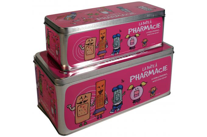 Lot de 2 boites a pharmacie roses bo te de rangement pas cher - Boite a pharmacie design ...