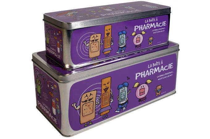 Lot de 2 boites a pharmacie violettes bo te de rangement pas cher - Boite a pharmacie design ...